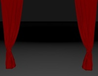 empty dark stage with red curtain and copy space