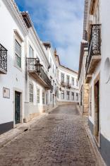The street in historic center of Faro, Portugal