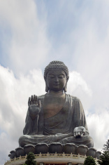 Tian Tan Buddha Sitting on Lotus Throne Closeup