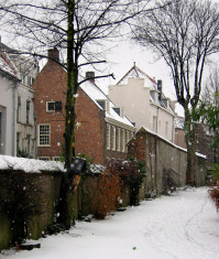 Medieval street in winter. Nijmegen, Netherlands