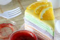 orange cake and strawberry jam.