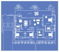House Floor Plan on a Blueprint