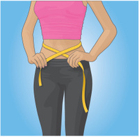 Tape measure around female waist