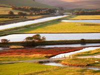 Beautiful landscape of field and river