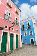 Brazil Salvador colourful houses near Pelourinho