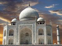 sunset on Taj Mahal