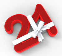 Number Twenty One With Ribbon Means Birthday Celebrations Or Eve