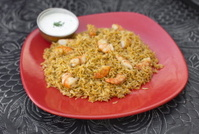Traditional indian food Prawn Biryani with rice