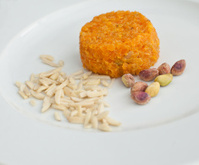 Orange dessert with  various seeds