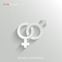 Male and female icon - vector white app button