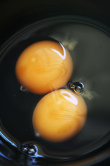 eggs yolk in black bowl