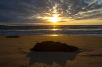 sundown at the shoreline in holland