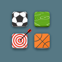 Different sports icons set with rounded corners