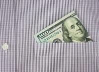 money in shirt pocket