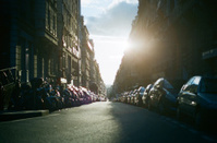 Paris Street with Setting Sun