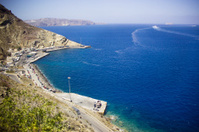 High Angle View of Santorini sea and port