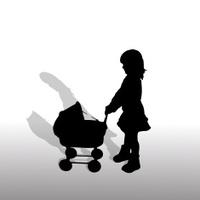 Vector silhouette of girl.