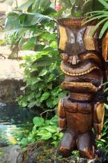 Smiling Wooden Tiki God Statue