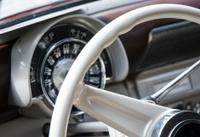 White Classic Vintage Car Interior Dashboard Steering Wheel