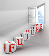 future red word conceptual door