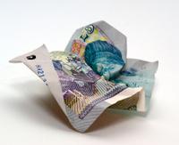 fiver, british five pound note crumpled