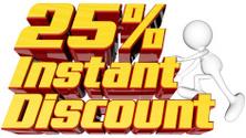 Instant 25 percent discount