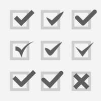 Set of check mark Ok confirm accept voice symbol icon