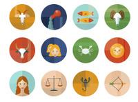 Set of Astrological Zodiac Symbols. Horoscope.