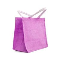 Hessian or jute reusable purple shopping bag