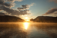 summer dawn on Lake Walchensee in southern Germany in Bavaria