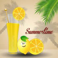 Lemonade juice with funny lemon