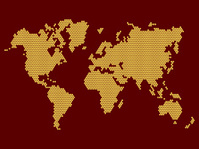 World Map Dotted on Dark Background. Vector