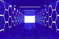 Futuristic blue hexagon room