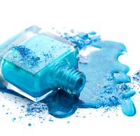 Blue nail polish with eye shadow