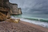 gloomy weather on rocky coast
