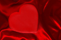 Red heart shaped silk sheet