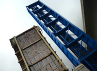 Blue And Brown Draw Bridge Low Angle View