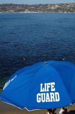 Umbrella at life guard station