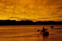 Canoe at Sunset on the Lake