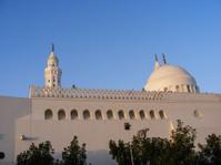 Minaret and dome of al-Qiblatain mosque in Medina, Saudi Arabia