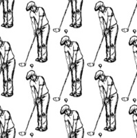 Sketch golfertargeting to hit the ball