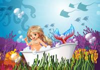 Bathtub under the sea with a mermaid