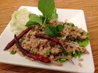 closed up spicy pork salad , thai food