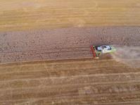 Bird-eye view of harvesting combiner