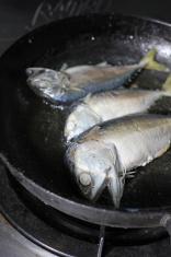Fry the three mackerel .