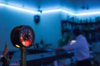 bar at a harbor, interior with blacklight