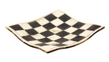 Empty curved ceramic chess board isolated on white background
