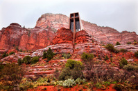 Chapel  Holy Cross Red Rock Canyon Rain Clouds Sedona Arizona