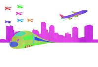 paper cut--train, plane and city