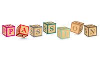 Word PASSION written with alphabet blocks